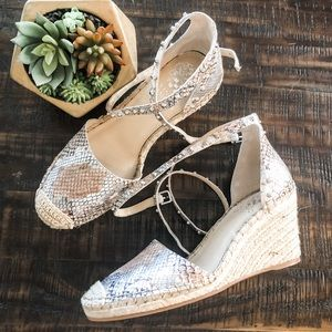 Vince Camuto Snake Print Leather Espadrille Wedges